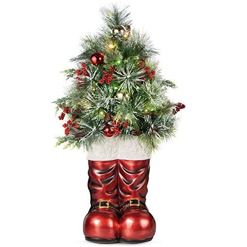 Best Choice Products 40in Santa Boots with Pre-Decorated Christmas Tree Greenery, Decoration for Home & Office, Hand-Painted Frosted Tips, Battery-Operated Lights
