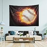 Tapiz para colgar en la pared, decoración de la habitación, diseño de llamas de béisbol, tamaño grande, para recámara, tapices de puerta de 80 x 60 pulgadas