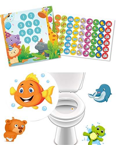 Lustige Töpfchen Trainer mit Toiletten Sticker Lieblingstiere + Belohnungsprogramm Partytiere mit grossen Aufklebern lustige Tiere