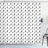 ABAKUHAUS, Modern, Duschvorhang, Th&erbolt-Zickzack, Leicht zu pflegener Stoff mit 12 Haken Wasserdicht Farbfest Bakterie Resistent, 175 x 220 cm, Schwarz Weiß
