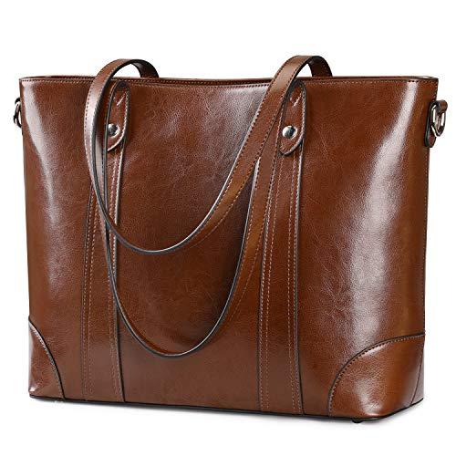 S-ZONE Damen Schultertasche 15,6 Inch Laptoptasche Große Leder Shopper Arbeitstasche Umhängetasche Handtasche mit Gepolstertem Laptopfach
