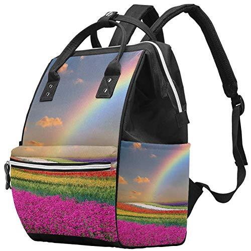 Bennigiry - Bolsa para pañales de tela de flores de arco iris con gran capacidad, bolsa de viaje, bolsa organizadora de pañales multifunción para mamá