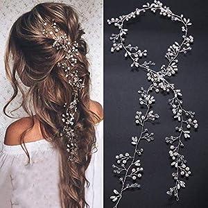 Denifery Bridal Rose Gold and Gold Silver Extra Long Pearl and Crystal Beads Bridal Hair Vine Wedding Head Piece Bridal… 4