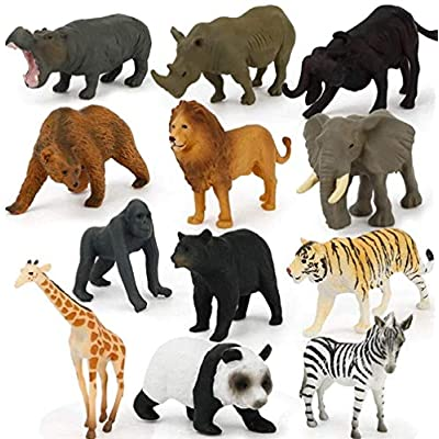 FlyCloud Animals Figures Toys 12 Piece, Wildlif...