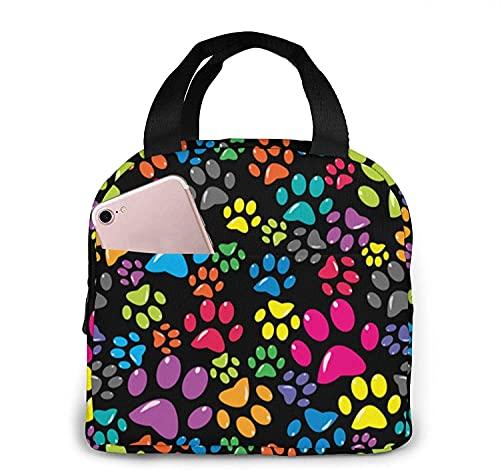 Florasun Crazy Colorful Dog Paws Bolsa de almuerzo bolsa de almuerzo para mujeres/hombres caja de almuerzo aislada