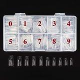 BeuniarBeuniar 500 puntas de uñas acrílicas artificiales francesas para manicura con caja de 10 tamaños, Transparente, 1.00[set de ]