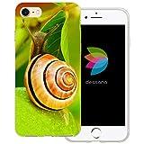 dessana Schnecken durchsichtige Schutzhülle Handy Hülle Cover Tasche für Apple iPhone 7 Schnecke Blätter