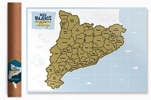 Mapa rascable Cataluña (dorado)
