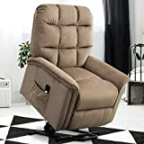 GOOD & GRACIOUS Lift Chair Electric Power Recliner with Remote Control for Elderly Heavy Duty and Soft Fabric Sofa for Living Room 3 Position Mocha