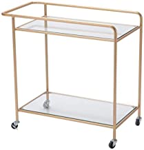 C-J-Xin Metal Trolley, Double Layer Glass Coffee Table with Armrests Home The Mall Beauty Salon Clothing Store Multifuncti...