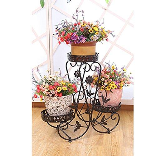 QFF Porte-fleurs en fer de style européen / étagère multi-plancher pots à fleurs / étagère florale intérieure et extérieure créative multifonctionnelle moderne ( Couleur : Blanc , taille : 70*25*65cm )