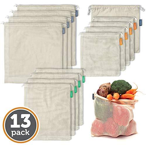 12+1 Bolsas Reutilizables de Algodón Orgánico - Set de 12 bolsas y 1 muselina - Ecológico - Doble costura y tara - Frutas y verduras - Lavables - Ligeras - Tamaño codificado por colores (4S, 4M, 4L)