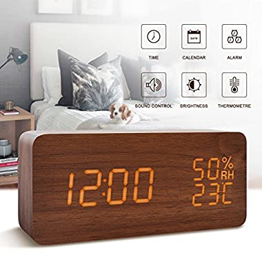 FiBiSonic Alarm Clock for Kids Wood Digital Clock Small Brown&Orange Led Clock, Displays Time Date Hygrometer And Temperature,Silent Modern Style with Thermometer and Hygrometer