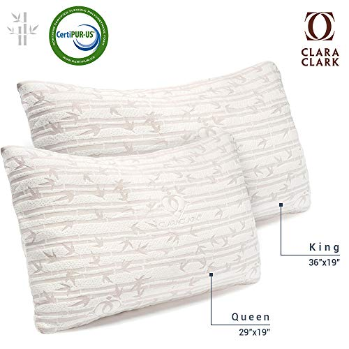 Clara Clark Shredded Memory Foam King (Cal-King) Size Pillow with Removable Washable Pillow Cover Set of 2