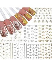 AIUIN Juego de 12 pegatinas para uñas, color dorado y plateado, 3D de metal, para decoración de uñas
