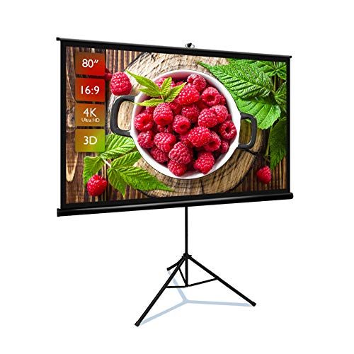 Projector Screen with Stand 80 inch 16:9 HD 4K Portable Indoor Outdoor Movie Screen Foladable Outdoor Projector Screen Pull Up Projector Screen with Stand for Office,Home Theater, Backyard Movie.