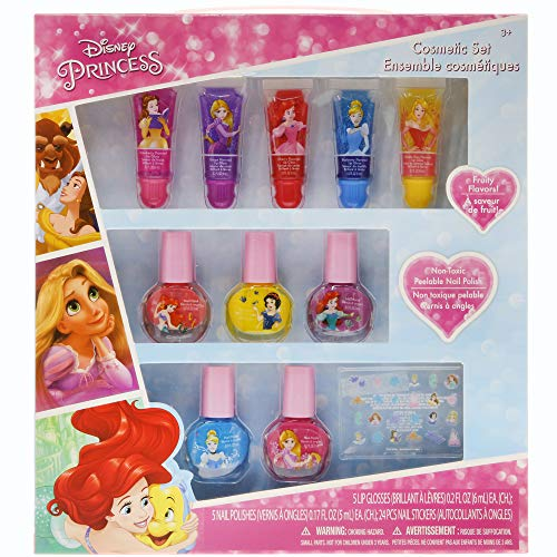 TownleyGirl Disney Themed Super Sparkly Cosmetic Set with Lip Gloss, Nail Polish and Nail Stickers (Disney Princess)