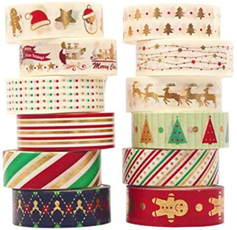 12 Rolls Christmas Washi Tapes 15mm Wide Masking Tape for Scrapbooking DIY Crafts,Holly Jolly Christmas Washi Tape