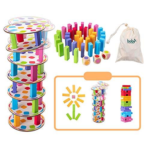 Surplex Gioco di accatastamento della Torre in Legno Traballante Pisa Tower Building Blocks Gioco Domino Giocattoli di apprendimento Montessori Gioco per famiglie Giochi di Natale per bambini e adulti