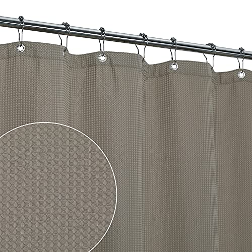 CAROMIO Waffle Duschvorhang 180x180 Wasserabweisend Textil Waschbarer Duschvorhänge aus gewichtetem Polyester Stoff, Elegant Shower Curtain mit Rostfreien Metallösen, Taupe