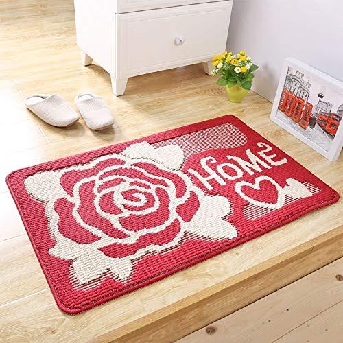 Carpet ZQE-LP European Retro Dust-Proof Household Floor Mat Polypropylene Wear-Resistant Door Foyer Bathroom Door Anti-Slip Foot Mat, B, 16X24In