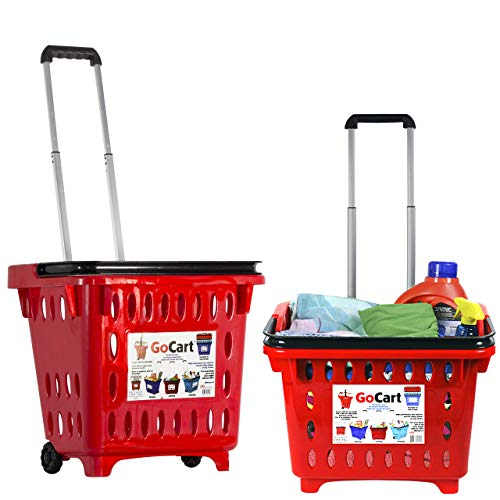 dbest products Gocart, Red (5 Pack) Grocery Cart Shopping Laundry Basket on Wheels, 5 Pack, 5 Pack