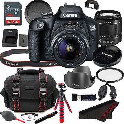 EOS 4000D (Rebel T100) DSLR Camera Bundle + 18-55mm Lens | Built-in Wi-Fi|18.0 MP CMOS Sensor |DIGIC 4+ Image Processor and Full HD Videos + 64GB Memory (19pcs)