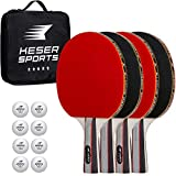 Keser Sports 5-Star Ping Pong Paddle Set – 4 Player Racket Set Bundle with 8 Professional ABS Balls and...