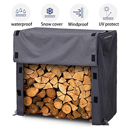 Firewood Cover,Log Rack Cover,Heavy Duty Waterproof [4 Feet] Firewood Rack Snow Protector with Durable Fabric Fits for 4 Seasons, L48xW24xH42 Inches