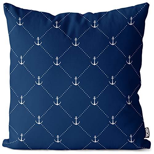 VOID Anker maritimes Muster Kissenbezug Kissenhülle Polyester wasserfest Outdoor Indoor, Kissen Größe:40 x 40 cm