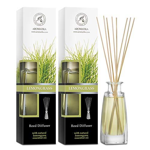 Set De Varillas Perfumadas Con Difusor Lemongrass - 2x100ml - Difusores de Aromas con Aceite Esencial Lemongras - Fragancia para el Hogar - Difusor Perfumado - Ambientador de Varillas de Rattan