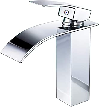 Faucet Bathroom Waterfall Faucet Bathroom Sink Single Lever Mixer Sink Basin Fittings Cold And Hot Water Available Chrome Plated Brass Taps For Bathroom Modern Style Amazon De Diy Tools
