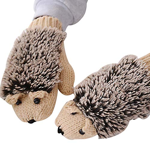 Yying Winterhandschuhe/Frauen-Karikatur-Igel-Handschuhe verdicken Handwärmer alle Fingerhandschuhe gestrickte Handgelenk-Handschuhe für im Freienreiten