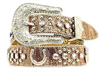 Nocona Girl's Horseshoe Conchos Belt, Brown, 28