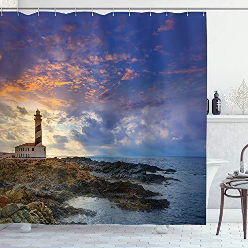 Ambesonne - Cortina de ducha con faro, gorro de Favaritx Sunset Fighthouse Cape en Mahón en las Islas Baleares, juego de decoración de baño de tela con ganchos, 177,8 cm de largo, color marrón azul