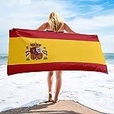 Toalla De Playa,Portátil España Bandera Nacional Impreso Rectángulo Toalla De Playa Microfibra Toalla De Baño Para Hombres Y Mujeres Ideal Para Nadar Spa Viajes Yoga Deportes Camping Sunbed Cover