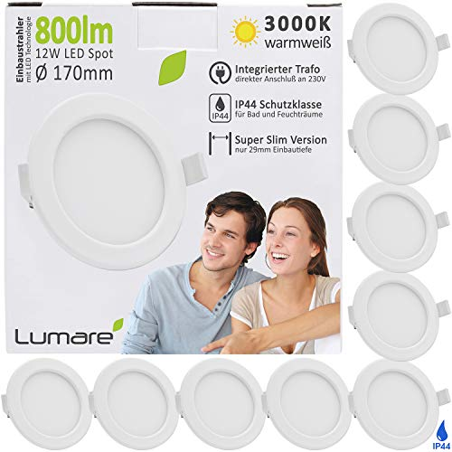 Lumare LED Einbaustrahler 12W 800lm 230V IP44 Ultra flach 9er Set Wohnzimmer, Badezimmer Einbauleuchten weiss 26mm Einbautiefe Mini Slim Decken Spot warmweiß