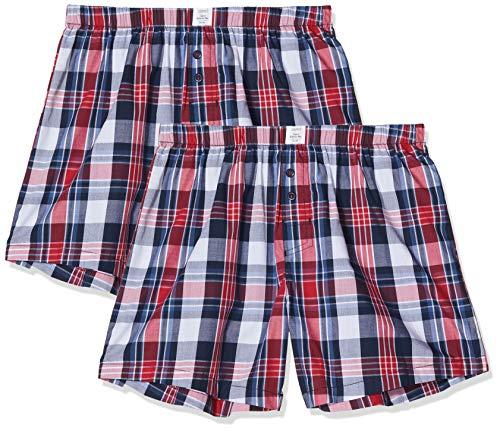 ESPRIT Herren ANSCOM Woven Shorts Boxershorts, Blau (Navy 2 401), Large (Herstellergröße: L) (2er Pack)