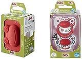 Bibi - Lote de chupetes de silicona para dientes de 16 meses con anillo en caja...