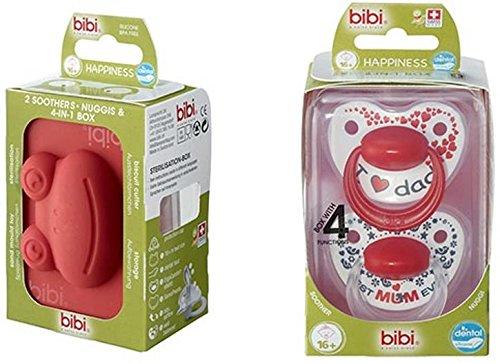Bibi - Lote de chupetes de silicona para dientes de 16 meses con anillo en caja multifunción