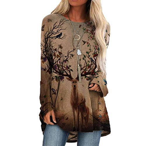 Finebo Suéter de los Jerseys para Las Mujeres, Camisas del día de San Valentín más el tamaño Suelto de Manga Larga con Cuello Redondo y Blusa Estampada
