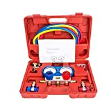 Bang4buck Manifold Gauge Set Diagnostic A/C Tool Kit R22 R134a R410a Refrigeration Brass Auto Service Set 5 Feet with Case, 1/4 Inch Fittings (Red-Diagnostic Equipment with Case)