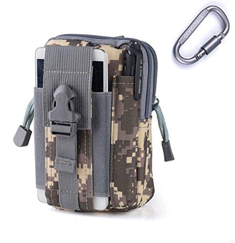 GADIEMENSS Hang Pocket Military Tactical EDC Utility Gadget Belt Waist Bag For iPhone Holster Outdoor Sport Hiking Camping Riding Running (ACU Camo)