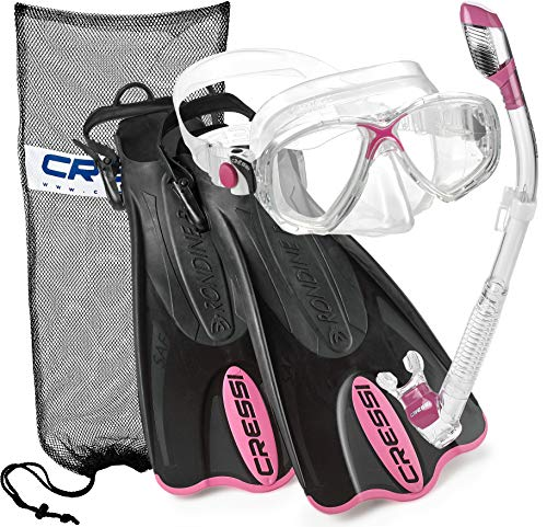 Cressi Palau Mask Fin Snorkel Set with Snorkeling Gear Bag, Pink, S/M   (Men's 4-7) (Women's 5-8)
