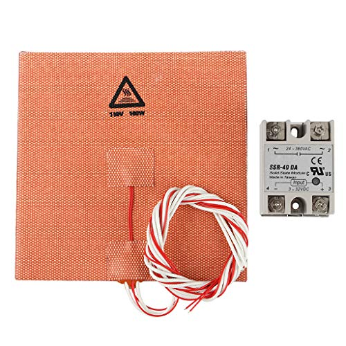 balikha 3D Printer Square 150x150mm Hot Bed Build Plate Platform Sticker Tape + SSR-DA Contactless Solid State Relay