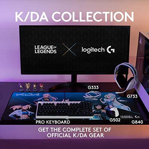 Logitech G PRO K/DA Mechanical Gaming Keyboard, Ultra-Portable Tenkeyless Design, Detachable Micro USB Cable, 16.8 Million Color LIGHTSYNC RGB backlit keys - Official League of Legends KDA Gaming Gear