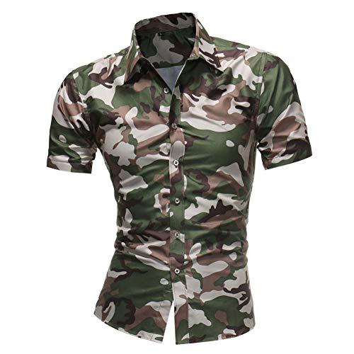 Camisa de Hombre Talla Grande Verano Solapa Manga Corta Camuflaje Camisa Militar Informal