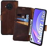 Suncase Book-Style Hülle kompatibel mit Xiaomi Mi 10T Lite 5G Leder Tasche (Slim-Fit) Lederhülle Handytasche Schutzhülle Hülle mit 3 Kartenfächer in antik-Coffee
