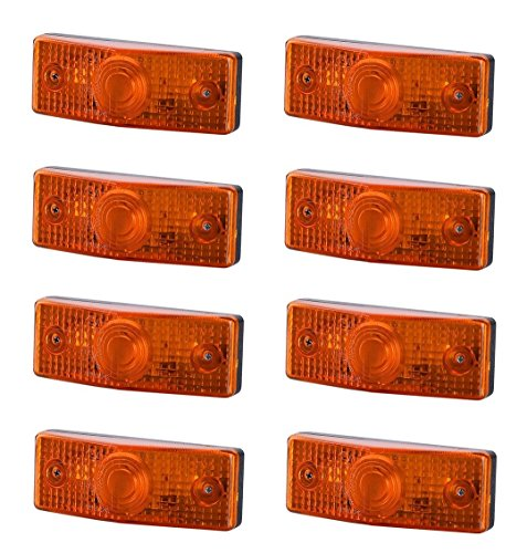 8 x Orange Begrenzungsleuchte Seitenleuchte 12V 24V mit E-Prüfzeichen Positionsleuchte Seite Auto LKW PKW KFZ Lampe Leuchte Licht Gelb Birne