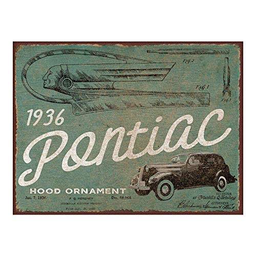YASMINE 1936 Pontiac Hood Ornament Patent Metal Plaque Tin Sign Poster Art Cafe Club Pub Home Wall Decoration